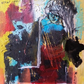 "🔴""Whims of the un-fashion"", mixed media and collage on canvas, 11 x 14 in 2014 Sold"