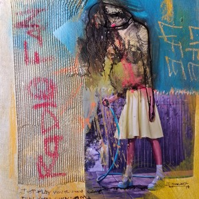 """Whims of the un-fashion"", mixed media and collage on canvas, 11 x 14 in 2014 Sold"