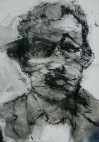 "🔴""Selfie 6"", ink on cardboard, 10 x 8 inch2014 Sold"