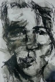 "🔴""Selfie 5"", ink on cardboard, 10 x 8 inch2014 Sold"