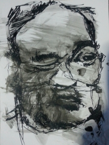 "🔴""Selfie 3"", ink on cardboard, 10 x 8 inch2014 Sold"